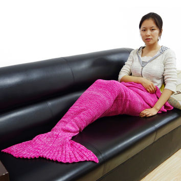 yarn knitted Mermaid Tail blanket handmade crochet mermaid blanket kids throw bed Wrap super soft sleeping bag  180CMX90CM