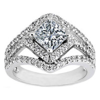 Engagement Ring - Princess Diamond Diagonal Halo Engagement Ring Three Row Shank 0.83 tcw. - ES819PR