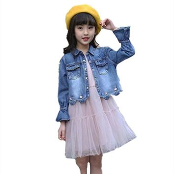 Trendy Kids Vintage Denim Jackets Princess Lace Party Dress for Girls Elegant Coat Costume Suit 2018 Autumn Baby Tops Clothes Sets AT_94_13