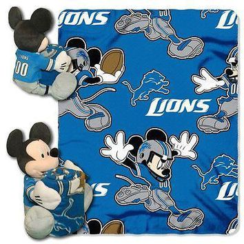 "DETROIT LIONS 40""X50"" DISNEY MICKEY MOUSE HUGGER PILLOW & THROW BLANKET SET NEW"
