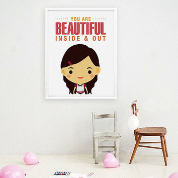 Children Decor, Custom Portraits Personalized Girl Children Wall Art, Art for nursery - You are beautiful inside and out 8x10 poster