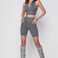 Bible Basic Biker Shorts Cycling Two Piece Set Grey
