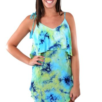 Tie Strap Tie Dye Dress - Royal & Jade