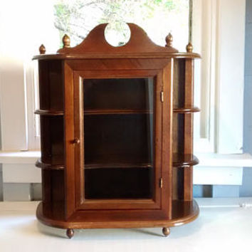 Curio Cabinet, Large, Cabinet, Wood, Wall Mount, Table Top, Shelves, Display Shelves, Vintage