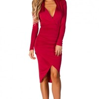 Dhalia Red Long Sleeve Plunging Neckline Tulip Skirt Dress