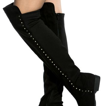 Black Faux Suede Stud Accent Knee High Boots @ Cicihot Boots Catalog:women's winter boots,leather thigh high boots,black platform knee high boots,over the knee boots,Go Go boots,cowgirl boots,gladiator boots,womens dress boots,skirt boots.