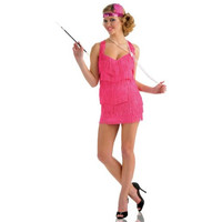 Delicious Womens Pink Lindy & Lace Halloween Party Flapper Costume