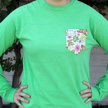 Kappa Delta Long Sleeve Tee Shirt in Pine Forest Green with Pattern Pocket by the Frat Collection