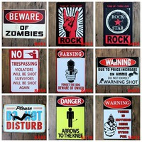 Warning Danger Metal Tin Signs Beware Of Zombies Signage Home Decor Vintage Rock&Roll Decorative Wall Art Painting Plaque YN025