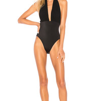Norma Kamali Halter Low Back One Piece in Black