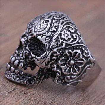 high quality alloy Skull Rings Hot Men's Punk Style Flower Skull Biker Ring Fashion Skeleton Jewelry 2016 one Size