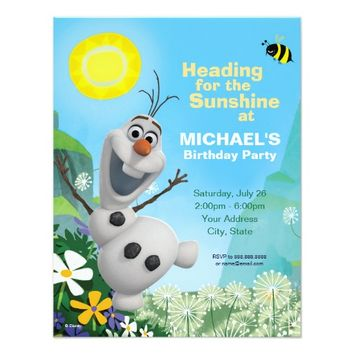 "Frozen Summer Olaf Birthday Invitation 4.25"" X 5.5"" Invitation Card"