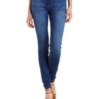 Dark Wash Denim Faded Mid-Rise Skinny Jeans by Charlotte Russe