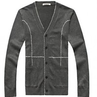 Cotton Open Shirt V-Neck Long Sleeve Dark Grey Male Clothing M/L/XL/XXL@JT07186dg $27.99 only in eFexcity.com.