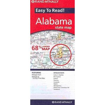 Rand Mcnally Easy to Read Alabama State Map