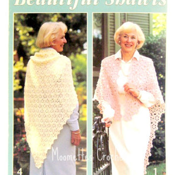 Vintage Crochet Pattern Book Beautiful Shawls Crocheted Shawl Designs Daisies Ruffled Chevrons Picots Woven Blocks Leisure Arts 2440 Destash