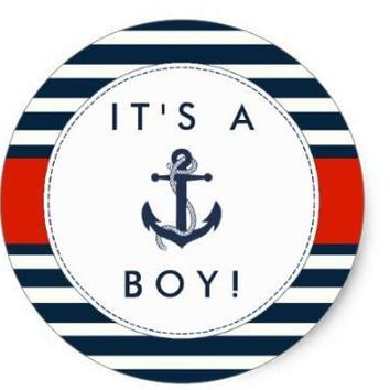 1.5inch Nautical Anchor Baby Shower Stickers - It's A Boy!