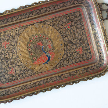 Vintage Indian Peacock Tea Tray, Painted Etched Brass Small Serving Tray, Made in India