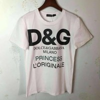 """Dolce & Gabbana"" Woman Fashion Casual Short-Sleeved Printed Round Neck   Top"