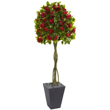 6' Bougainvillea Artificial Tree in Slate Planter