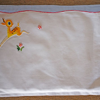 Vintage Pram/Cot Pillowcase Embroidered Nursery Crib Pillow Cover with Bambi Baby Deer Fawn Baby Blue and Red Flowers