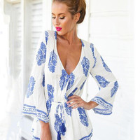 White Printed Deep V-neck Bell Sleeve Romper