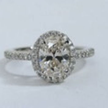 2.00ct F-SI2 Oval Diamond Engagement Ring GIA certified 18kt gold Gold JEWELFORME BLUE