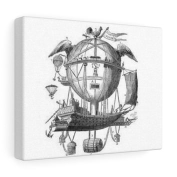 Canvas with Hot Air Balloon Flying Airship Art Print