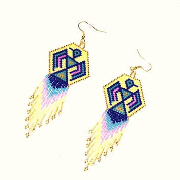 Native American Inspired Thunderbird Beaded Dangle Earrings In Yellow, Gold, Drk Blue, Sage, and Pink With Long Fringe