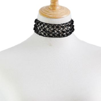 """14"""" black faux pearl crystal choker necklace 1.65"""" wide bridal prom"""