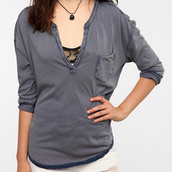 Ecote Washed Split Neck Henley Tee