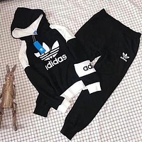 ADIDAS Top Sweater Hoodie Pants Trousers Set Two-Piece Sportswear Black