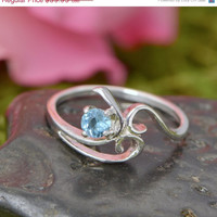 SALE Blue Topaz Ring - Sterling Silver Ring - December Birthstone - Topaz Ring - Gemstone Jewelry - Blue Gemstone