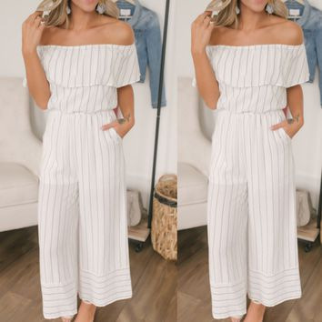 Women's sexy one-shoulder striped stitching jumpsuit