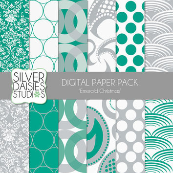 "Emerald Christmas Digital Paper 12 Pack- 12""x12"" - INSTANT DOWNLOAD - Pantone Emerald Christmas Themed Set - Digital Scrapbooking - Pearl"