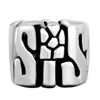 Silver Plated Pugster Sis Gifts For Sister Charm Fits Pandora Bead Bracelet