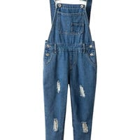 Blue Denim Frayed Suspender Jumpsuits