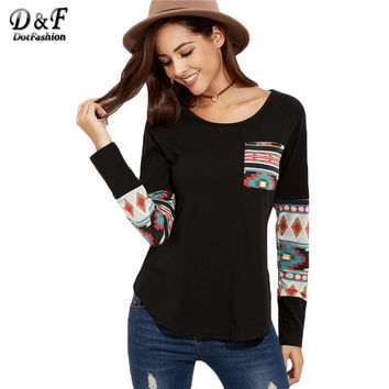 Dotfashion Black Curved Hem Pocket With Tribal Print Detail Tops Ladies Round Neck Long Sleeve Loose T-shirt