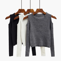 Free Shipping Cut Out Shoulder Knitted Top sweater