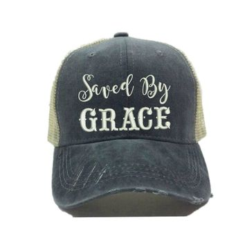 """""""Saved By Grace"""" Distressed Trucker Hat"""
