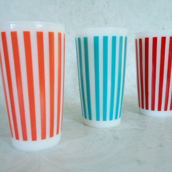 Mid Century Hazel Atlas Striped Tumblers, Set of Three Hazel Atlas Candy Striped Drinking Glasses