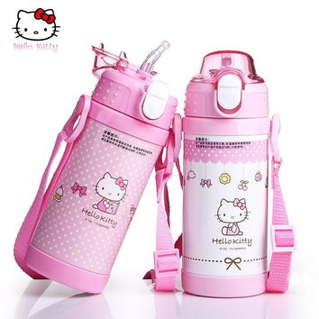 Hello Kitty Baby Drink Water Thermos Feeing Bottle with Straw Stainless Steel Children Feeding Kettle Students Bottles Pupils