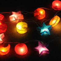 Star Moon light galaxy space room decor paper lantern light string light hanging bedroom living room kid teen room dorm 10 feet long