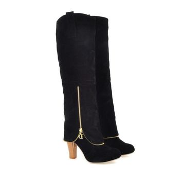 Plus Size 34-43 Autumn Winter Women Boots Sexy Thick High Heel Flock Long Boots Zipper Deco Knee High Boots Ladies Shoes
