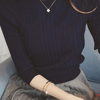 Solid Color Ribbed Three Quarter Sleeve Pullover Sweater