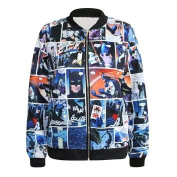 Sheoutfit Young's New Arrival Batman The Dark Knight Joker Bomber Digital Printing Zipper Jacket Free Size Color8