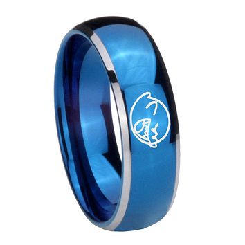 8MM Glossy Blue Dome Mario Boo Ghost Tungsten Carbide 2 Tone Laser Engraved Ring