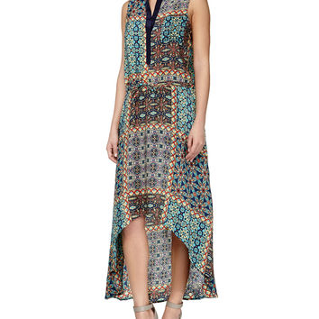 Lydia Printed High-Low Dress, Turquoise, Size: