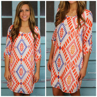Harvest Moon White Aztec Print Shift Dress