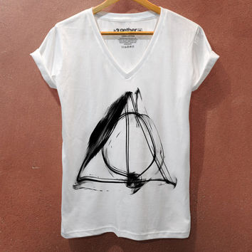 Deathly Hallows Normal Symbol Sign Harry Potter V neck t-shirt